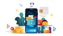 Ilustración dun smartphone e correos electrónicos.