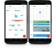 Dous smartphones mostrando a app Google Calendar.