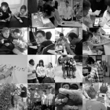 Mosaico de fotografías en branco e negro de persoas con discapacidade.