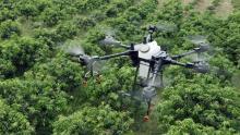 Imaxe aérea dun dron voando.
