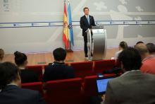 O presidente da Xunta durante a rolda de prensa.