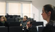 Natalia Padilla nunha reunión do proxecto europeo Social Seducement, no que hai unha importante presenza feminina. / UNIR Research UCC+i.