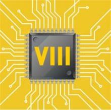 Representación dun chip nunha placa co texto VIII enriba.