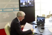 O conselleiro de Economía, Emprego e Industria, Francisco Conde, participou hoxe no webinario 'Re-acciona. Negocios que non paran. A dixitalización como resposta á pandemia'.