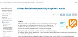 Pantallazo da web de acceso ao servizo de videointerpretación.