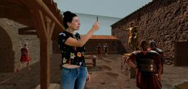Muller en realidade aumentada dentro dun videoxogo.